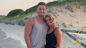 Gabriel Roy was vacationing from Sherbrooke, Que. with his girlfriend Kasandra Rodgers when police say he jumped into the water at a Massachusetts beach and rescued a drowning boy. (Westport Police Department)
