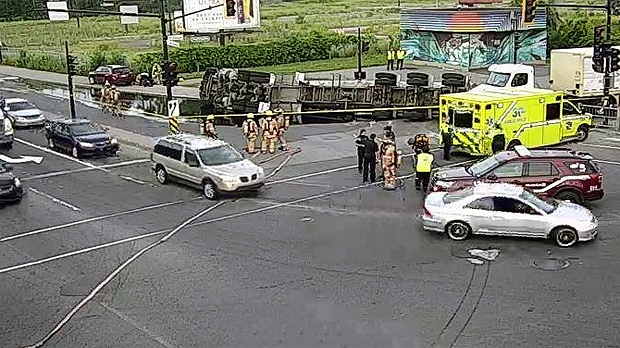 A tanker truck flipped onto its side Tuesday morni