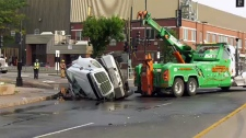 tow truck, overturned truck