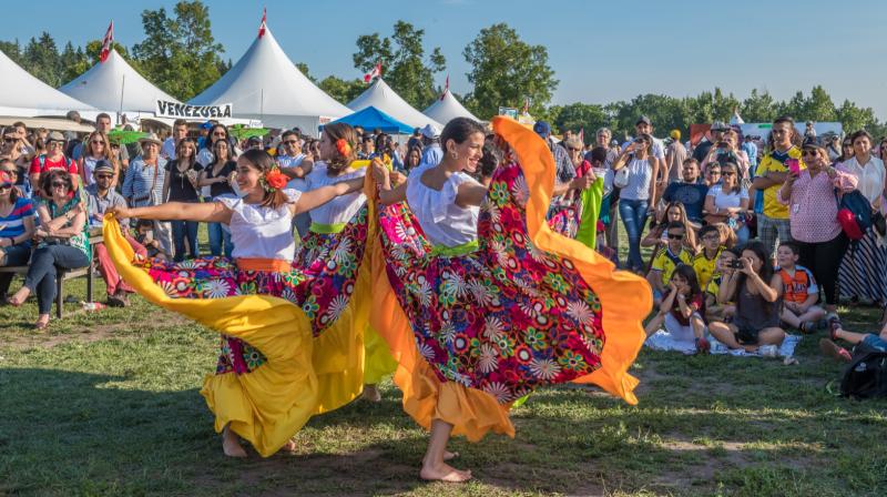 Crowds watch dancers representing Venezuela at the 2017 Edmonton Heritage Festival (Supplied)