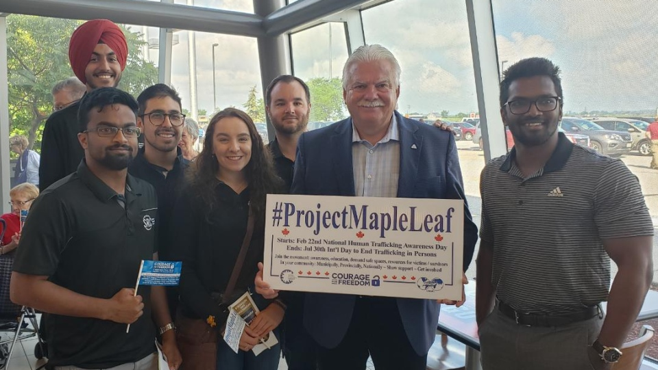 Windsor-Tecumseh MPP Percy Hatfield of the NDP joins those taking part in an anti-human trafficking awareness campaign at the Tilbury OnRoute rest stop on July 30, 2019. (Courtesy Percy Hatfield via Twitter)