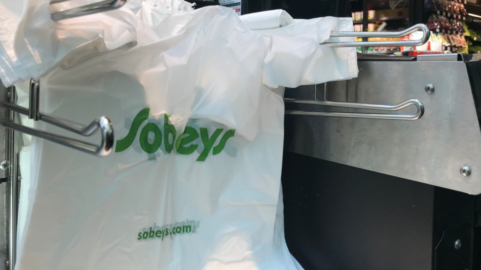 A plastic bag seen at a Toronto Sobeys taken on July 31, 2019. (CTV Toronto/Francis Gibbs)