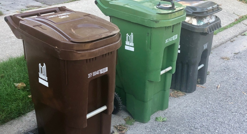 The new brown bins, pictured above, can be seen in Toronto's Leaside area on Wednesday morning. (Natalie Johnson)