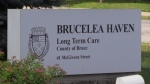 A sign for Brucelea Haven long-term care home in Walkerton, Ont. is seen on Wednesday, July 31, 2019. (Scott Miller / CTV London)