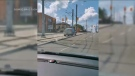 Cellphone footage shows someone driving a car on LRT tracks.