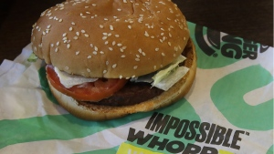 An Impossible Whopper burger is photographed at a Burger King restaurant in Alameda, Calif., on July 31, 2019. (Ben Margot / AP)