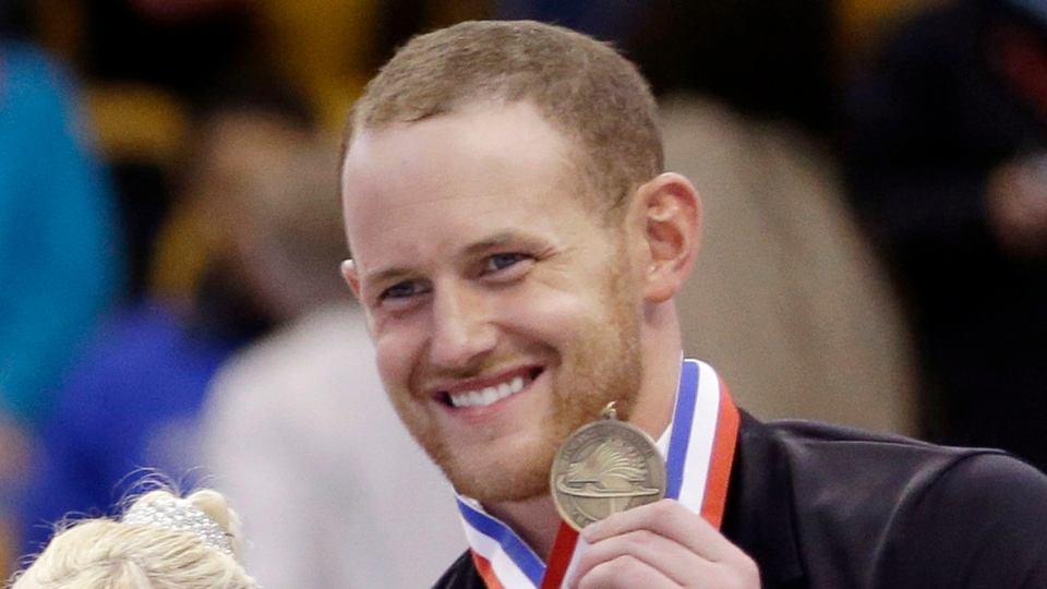 FILE - In this Jan. 11, 2014, file photo, bronze medalist John Coughlin smiles during an award ceremony at the U.S. Figure Skating Championships in Boston.(AP Photo/Steven Senne, File)