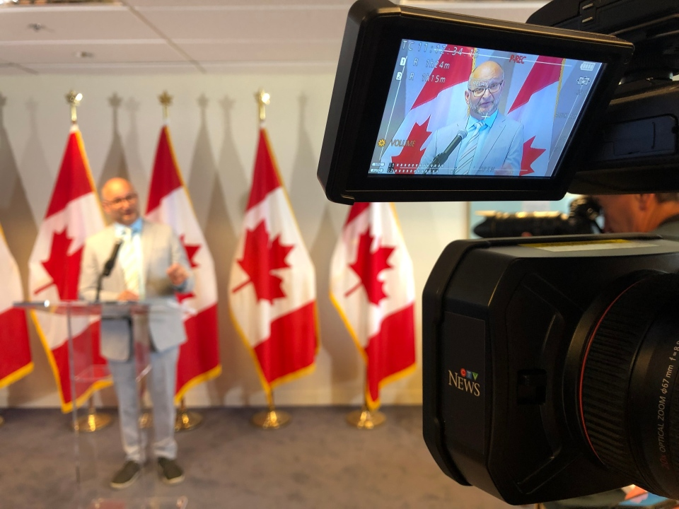 Justice Minister David Lametti announces reforms to the pardon application process for Canadians with cannabis possession convictions on Thur., Aug. 1, 2019. (Photo: Scott Prouse/CTV Montreal)