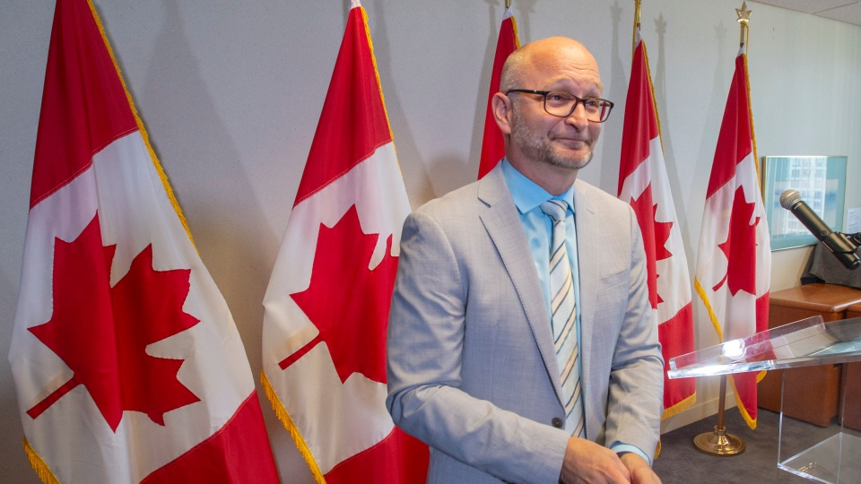 Federal Justice Minister David Lametti leaves after a news conference Thursday, August 1, 2019 in Montreal. Lametti announced the start of a no-cost expedited pardon for people convicted of simple possession of cannabis.THE CANADIAN PRESS/Ryan Remiorz
