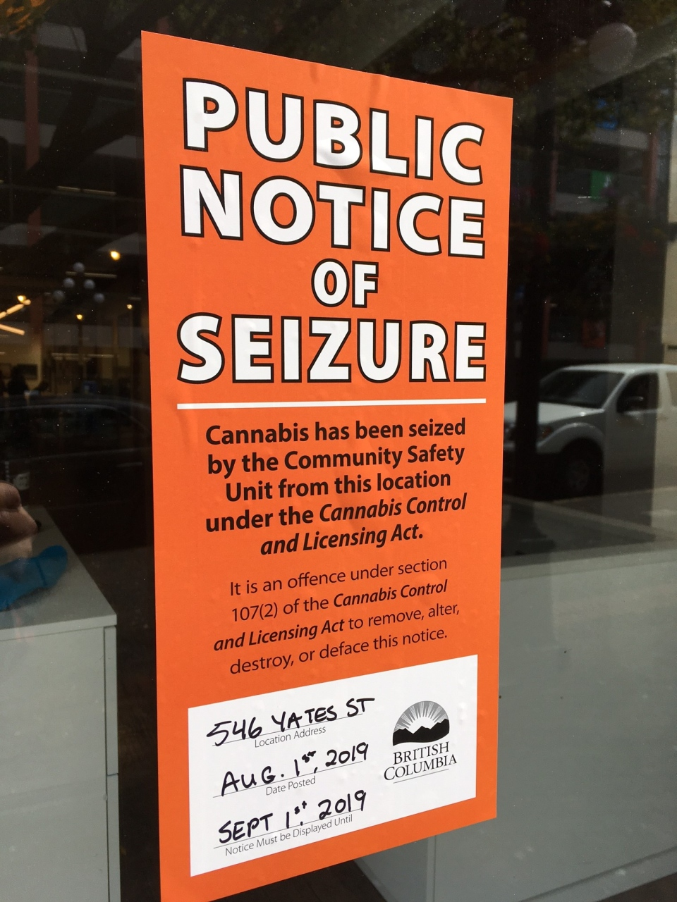 The seizure notice posted at Trees on Yates Street on Aug. 1, 2019. (CTV Vancouver Island)