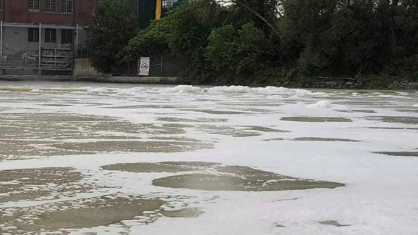 Photos taken by Alexandre Thibault show a white foam substance near the Lievre River.