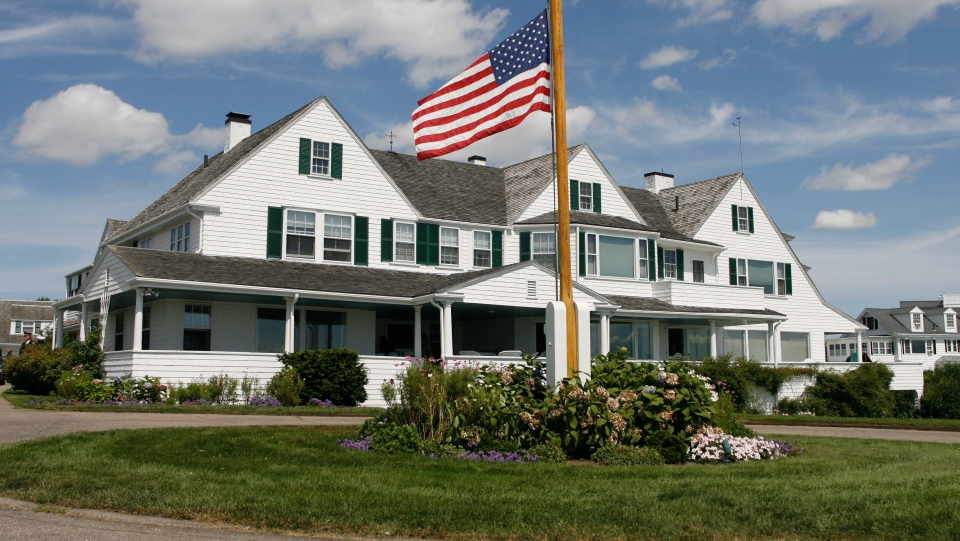 FILE - This Aug. 27, 2009 file photo shows the main home in the Kennedy family compound in Hyannis Port, Mass. (AP Photo/Stew Milne, File)