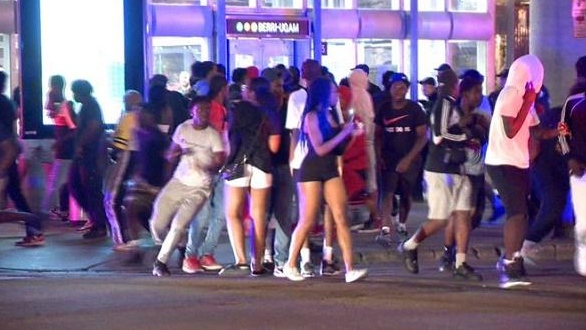 Police were involved in clashes with concert-goers near Emilie-Gamelin Park in downtown Montreal in the evening of August 1. (Cosmo Santamaria/CTV News. Montreal)
