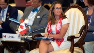 Canada's Foreign Minister Chrystia Freeland attends the Association of Southeast Asian Nations (ASEAN) Regional Forum in Bangkok, Thailand, Friday, Aug. 2, 2019. (AP Photo/Gemunu Amarasinghe)