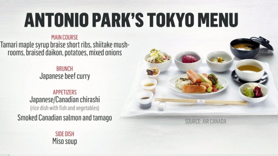 A sample of some of the new menu options available on Air Canada flights to Tokyo, designed by Montreal chef Antonio Park. (Air Canada)