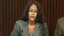 Suaad Hagi Mohamud speaks at a press conference in Toronto on Friday, Aug. 21, 2009.