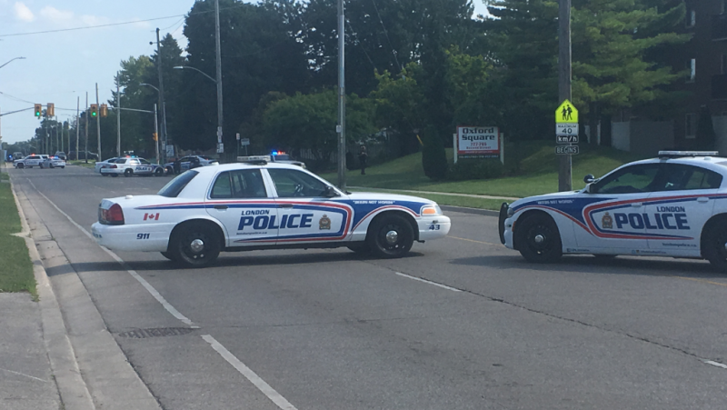 London police cruisers block Second Street in London, Ont. on Friday, Aug. 2, 2019 for a weapons investigation.  (Jim Knight / CTV London)