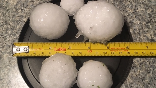 Edmonton and surrounding areas were hit by a hail storm Friday night. (Sue Turner)