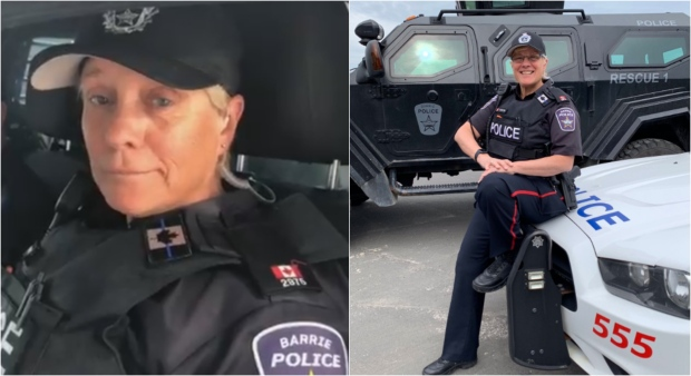 Police officer breaks down signing off for final shift before retirement