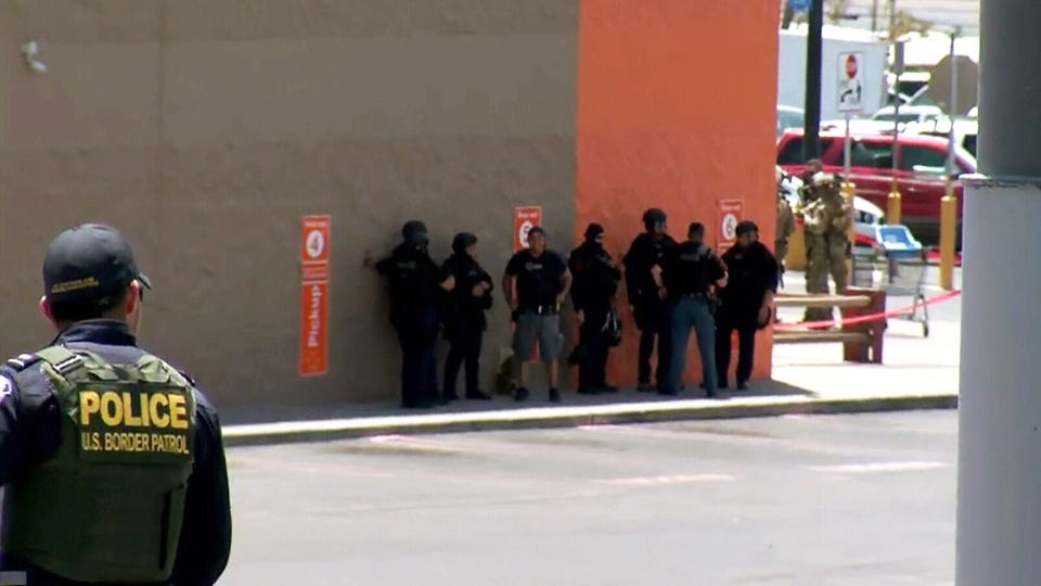 Police at the scene of a shooting in a Walmart at a shopping mall in El Paso, Texas, Saturday, Aug. 3, 2019. (KVIA)