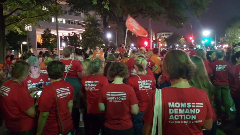Hundreds of mothers and volunteers demanding action on gun control marched on the White House and the Capitol on the heels of the deadly shooting in El Paso, Texas on Saturday. (Nancy Fry/Twitter)