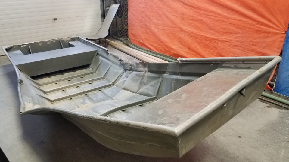 This damaged aluminum was recovered from the shores of the Nelson River. Courtesy: RCMP Manitoba