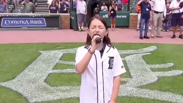 Sherbrooke native Jennifer Bellerose, 12, is getting major league attention for her rendition of the National Anthem.