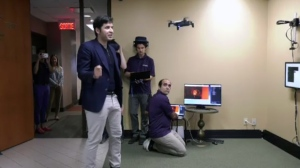 Ormuco President and CEO Orlando Bayter demonstrates a drone that can track a person