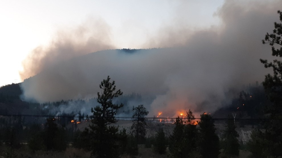 Wildfire at Eagle Bluff, between Oliver and Okanagan Falls (BC Wildfire Service/Twitter)