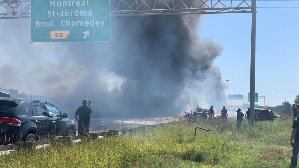 It took firefighters an hour to put out the flames from the multiple vehicles on fire (Photo Courtesy Peter Christakos)