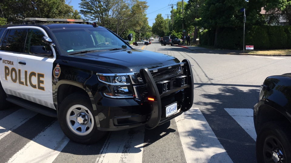 A police cruiser blocks off Bay Street following a reported shooting in Victoria Tues., Aug. 6, 2019. (CTV Vancouver Island)