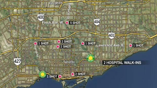 Shootings, map