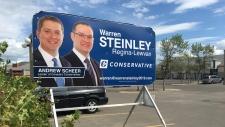 A federal campaign billboard for Warren Steinley