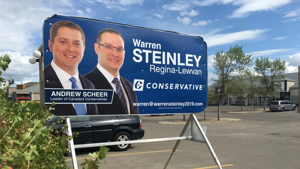 A federal campaign billboard for Warren Steinley, the outgoing MLA for Regina Walsh Acres. (Cole Davenport/CTV Regina)