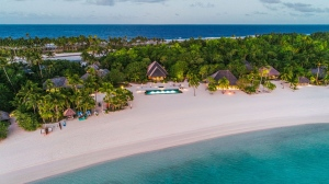 An aerial view of the Nukutepipi resort, which is owned by Guy Laliberté and available to rent at $190,000 per night