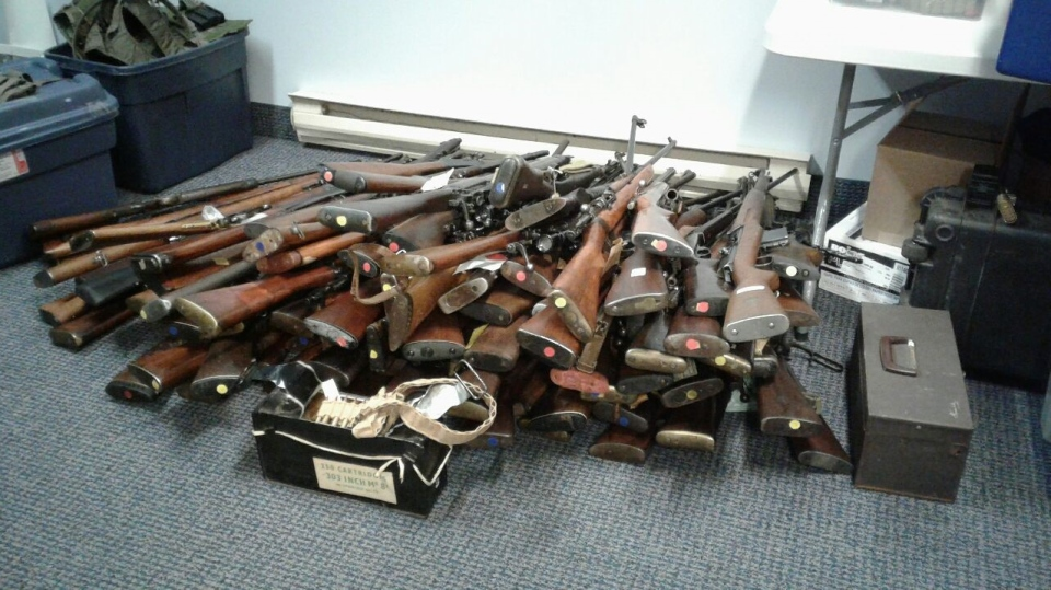 The RCMP seized 100 firearms from a home in Chebogue, N.S., on Aug. 5, 2019. (Nova Scotia RCMP)