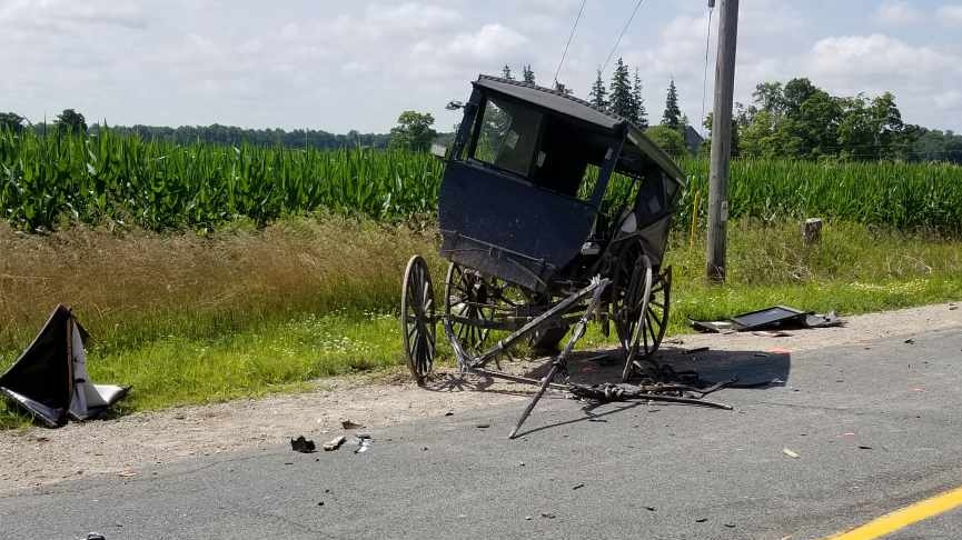 A buggy after a crash in Oxford County