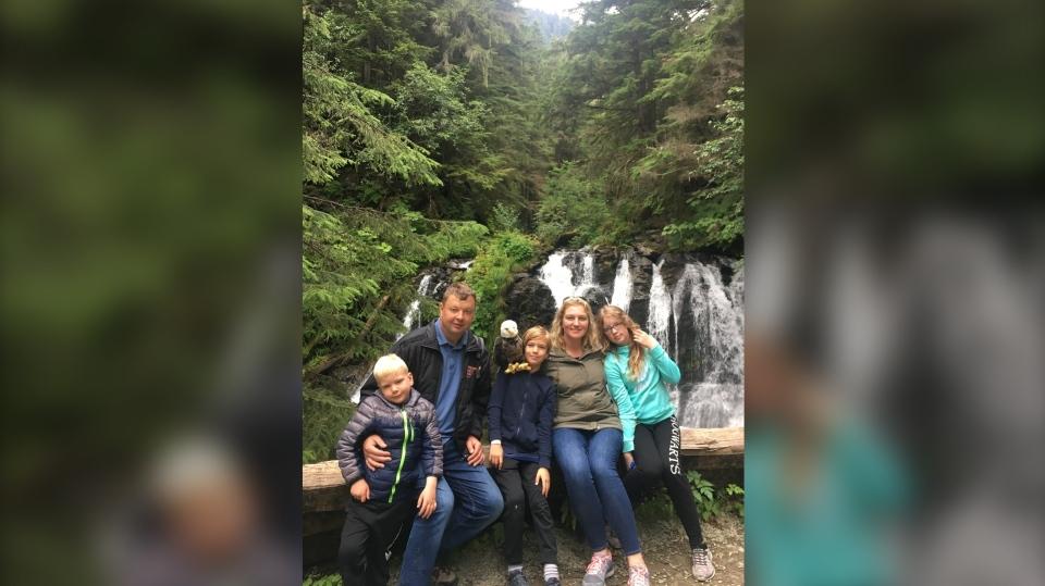 The Leeds family from Claresholm, Alta., said their now 9-year-old son Ashton (centre) has his life back thanks to NTRK gene fusion treatment Vitrakvi. (Photo: Leeds family)