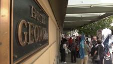 Rosewood Hotel Georgia protest
