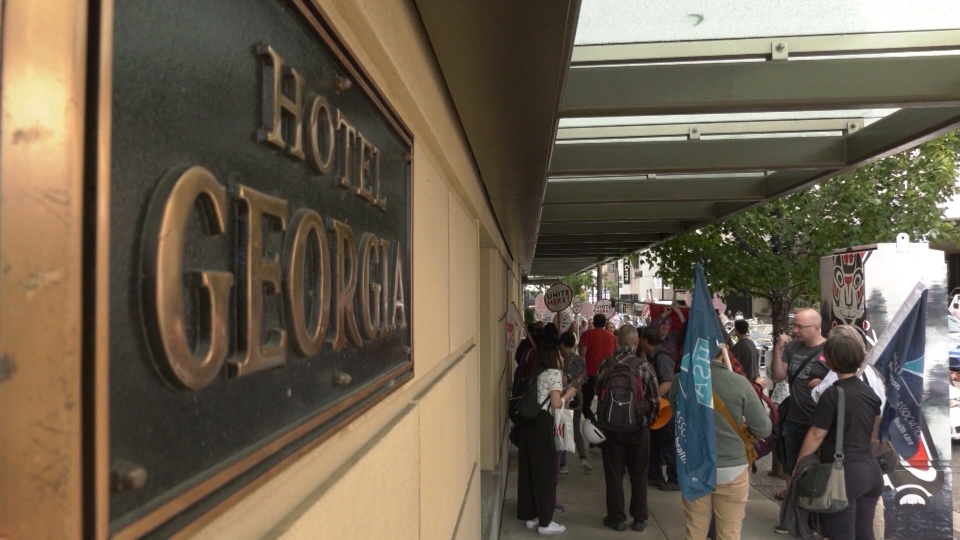In June, almost 100 current staff members protested outside Rosewood Hotel Georgia. (CTV)