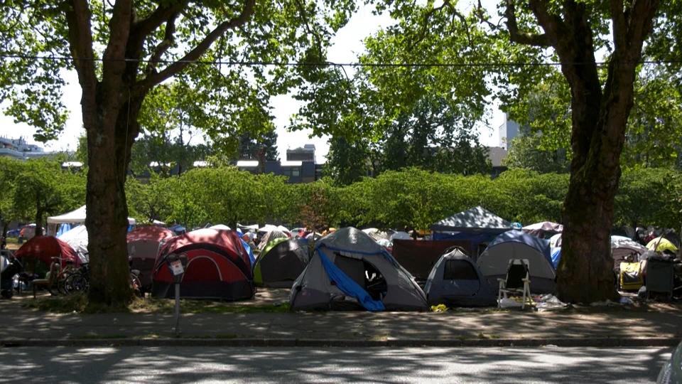 Tents are seen in Oppenheimer Park in this image from Aug. 7, 2019.