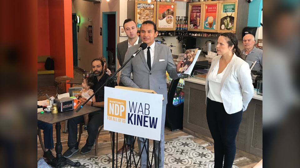 Wab Kinew released the party's election platform Thursday morning in St. James. (Source: Josh Crabb/CTV News)