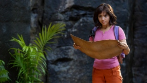 "This image released by Paramount Pictures shows Isabela Moner in ""Dora and the Lost City of Gold."" Moner stars in the new live-action film out Friday, Aug. 9, 2019, that presents an older but still adventurous version of the popular animated character from the Nickelodeon Jr. series ""Dora the Explorer."" (Vince Valitutti/Paramount Pictures via AP)"