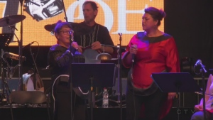 Mongolian and Inuit throat singers perform at the Place des Festivals as part of the Montreal First Peoples Festival