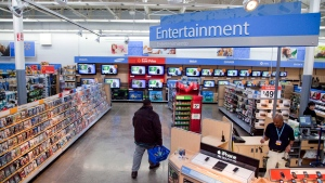 In this Dec. 15, 2010 file photo, a view of the entertainment section of a Walmart store is seen in Alexandria, Va. (AP Photo, File)