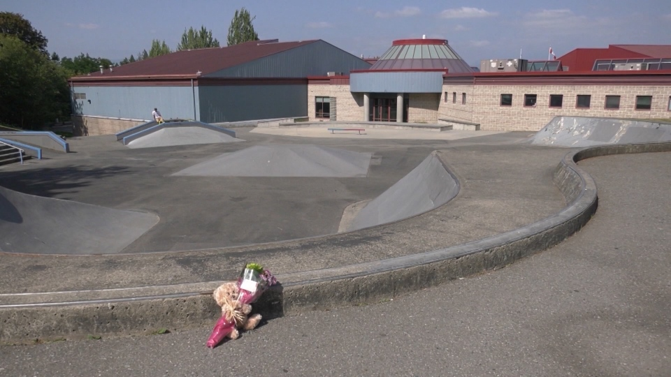Flowers have been left at a Langley skate park where a teen went into medical distress and later died.