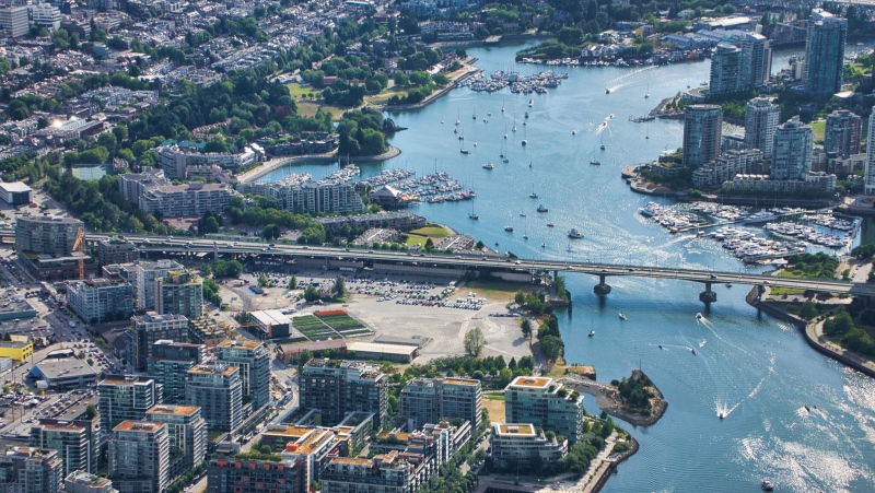 False Creek and the Cambie Street Bridge are seen from Chopper 9 above Vancouver in June 2019. (Pete Cline / CTV News Vancouver)
