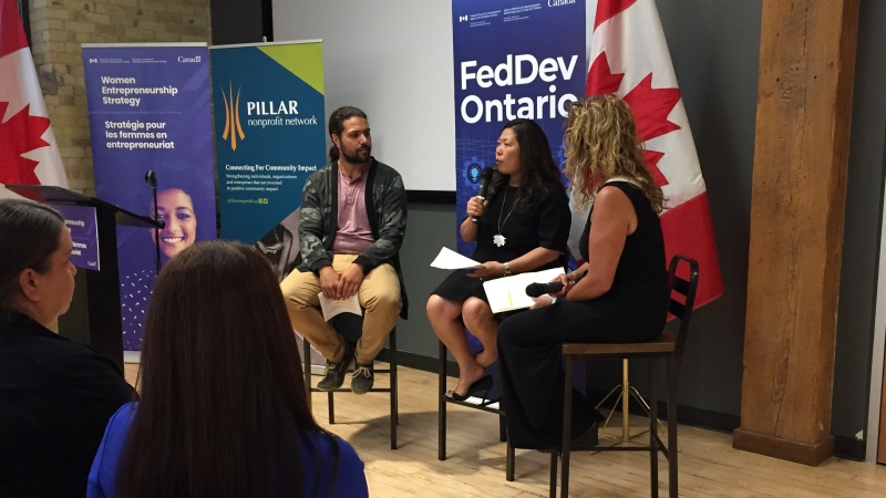 Canada's Minister of Small Business and Export Promotion Mary Ng, center, speaks in London, Ont. on Friday, Aug. 9, 2019. (Marek Sutherland / CTV London)