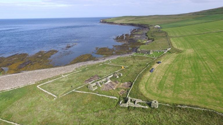 A view of Skaill farmstead looking towards St Mary's Kirk and Midhowe Broch. (Bobby Friel / @Takethehighview)