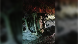 An image of the burnt-out wreck of the Humboldt County Sheriff's Department's vehicle, posted on the California Department of Transportation Facebook page August 7, 2019. (/Rod Mendes/Hoopa Fire Department and Office of Emergency Services/Facebook)